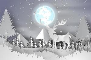 arte em papel cervo na paisagem da floresta, neve com lua cheia vetor