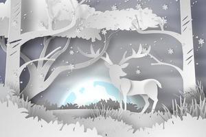 arte em papel de veado na paisagem da floresta, neve com lua cheia vetor