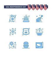 conjunto de ícones azuis do dia da independência dos EUA vetor