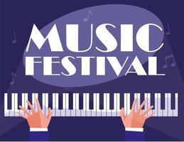 mãos tocando instrumento clássico de piano vetor