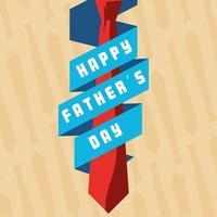 cartão de feliz dia dos pais com gravata e fita vetor