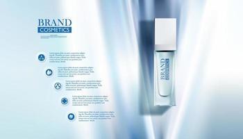 frasco cosmético em fundo azul abstrato vetor