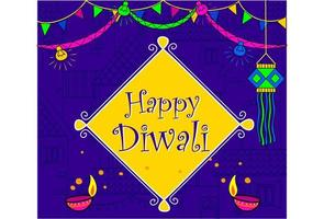 Papel de parede do festival indiano diwali em cor neon vetor