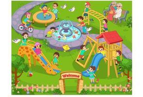 crianças brincando no parque vetor