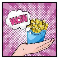mão de pop-art segurando batatas fritas vetor
