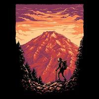 pessoa caminhando na montanha