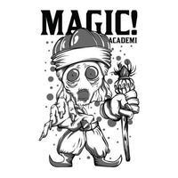 design de camiseta da academia mágica em preto e branco