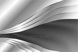 elegante fundo cinza metálico com design de seda curvo. vetor