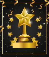design de celebração de prêmio com troféu estrela vetor