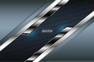fundo metálico azul e prata com fibra de carbono vetor