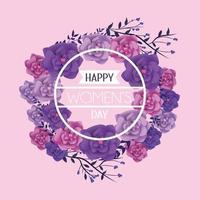 moldura redonda com flores para o dia das mulheres vetor