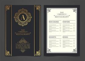 menu restaurante modelo de design de luxo vetor