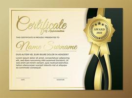 design de modelo de certificado preto dourado premium vetor