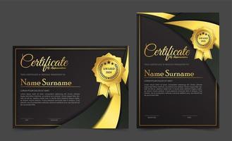 design de modelo de certificado preto dourado premium. vetor