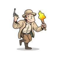 homem aventura correndo com arma e tocha vetor