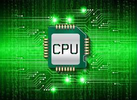 fundo de conceito de tecnologia futura de circuito cibernético de cpu verde vetor