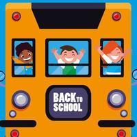Alunos fofos felizes, crianças no ônibus escolar vetor