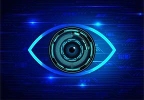 olho azul e fundo de conceito de tecnologia futura vetor