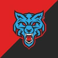 mascote cabeça de lobo azul vetor