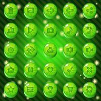 botões verdes e conjunto de ícones vetor