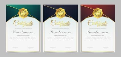 conjunto de diploma de certificado de membro vetor