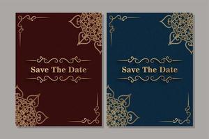 cartão de convite dourado vintage de luxo vetor