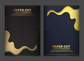 capa abstrata de luxo ouro e ondas pretas vetor