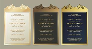conjunto de modelos de convite de casamento vetor