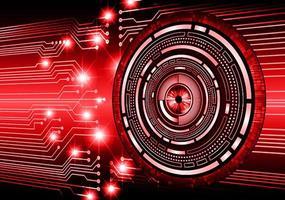 fundo de conceito de tecnologia futura de circuito cibernético de olhos vermelhos vetor