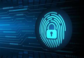 fundo de segurança cibernética de rede de impressão digital vetor