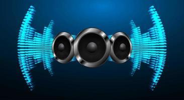 ondas sonoras oscilando luz azul vetor