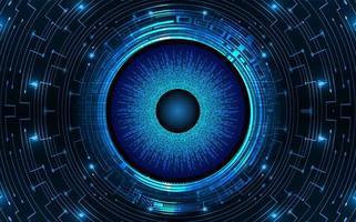 conceito de tecnologia futura de circuito cibernético olho azul vetor