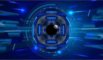 fundo de conceito de tecnologia de circuito de olho azul vetor