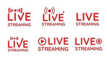 conjunto de símbolos de transmissão ao vivo vetor