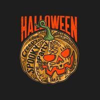 abóbora de halloween com letras vetor