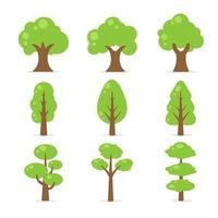 coleção de árvore plana vetor