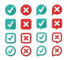 marca de seleção verde e vermelho errado na caixa de seleção vetor