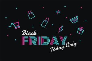 descontos neon black friday para clientes vetor