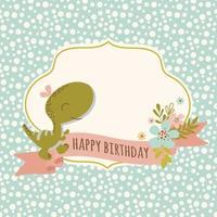 desenho de cartão de aniversário de dinossauro desenhado à mão vetor