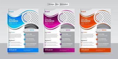 modelo de panfleto comercial com 3 cores diferentes vetor
