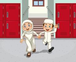 crianças do oriente médio no corredor da escola vetor