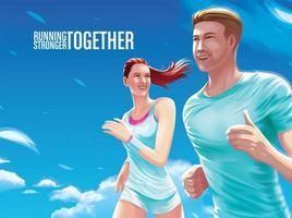 casal correndo juntos vetor