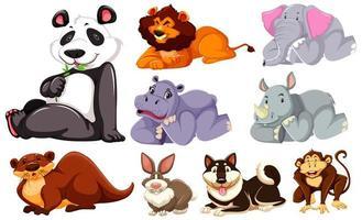 grupo de animais de desenho animado deitado vetor