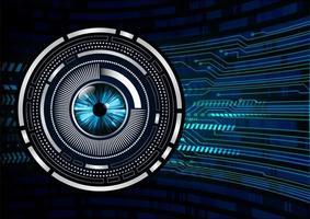 fundo de conceito de tecnologia futura de circuito de olhos azuis vetor