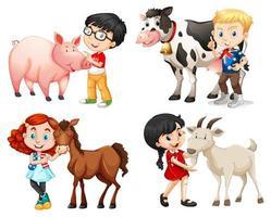 meninos e meninas com animais de fazenda vetor