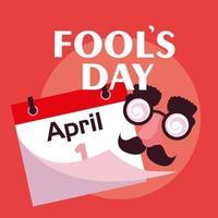 Dia da Mentira com acessórios de rosto malucos e calendário vetor