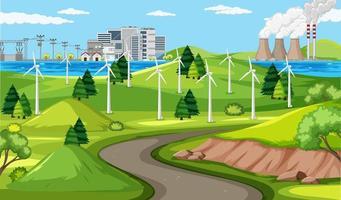 cena de paisagem de energia eólica vetor