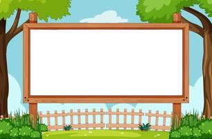 modelo de placa de madeira em branco ao ar livre vetor