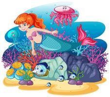 linda sereia subaquática vetor