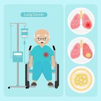 homem sênior com câncer de pulmão vetor